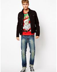 ASOS Red New Look Holiday Sweater with Vintage Santa for men