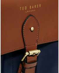 Dune Brown Ted Baker Mixed Leather Satchel for men