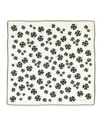 Carolina Herrera Black Archive Cloverprint Square Silk Scarf Whitegreen