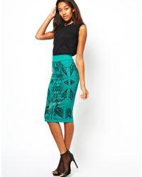 ASOS Green River Island Wet Look Printed Pencil Skirt
