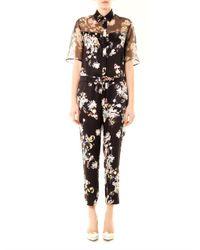 Erdem   Black Vala Eames Garden-print Silk Jumpsuit   Lyst
