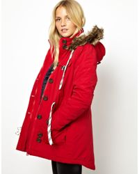 Fred Perry | Red Bellfield Parka Jacket with Faux Fur Trim Hood | Lyst
