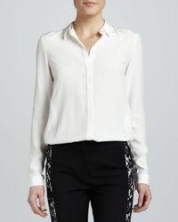 Lafayette 148 New York White Shonda Matte Silk Blouse