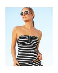 Michael Kors - White Striped Bandeau Tankini  - Lyst