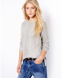 Mango | Gray Metallic Cable Knit Jumper | Lyst