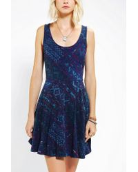 Urban Outfitters - Blue Ecote Boho Print Knit Skater Dress - Lyst