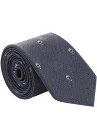 Alexander McQueen   Blue Navy Houndstooth Check Skull Silk Tie for Men   Lyst