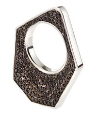 Eddie Borgo | Metallic Twotone Pave Medium Flat Triangle Ring Silver Size 7 | Lyst