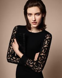 Jaeger Black Lace Sleeve Knitted Dress