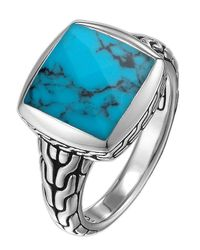 John Hardy Blue Small Square Turquoise Ring