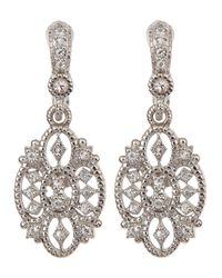 Judith Ripka Metallic Small White Sapphire Castle Earrings