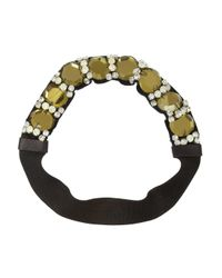 Marni - Green Crystal And Leather-Embellished Grosgrain Headband - Lyst