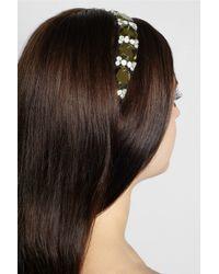 Marni - Green Crystal And Leather-Embellished Grosgrain Headband - Lyst