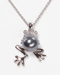 Nadri Gray Pave Frog Pendant Necklace 16