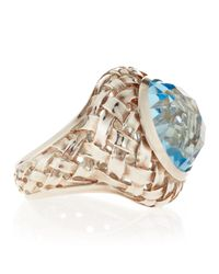Slane | Blue Topaz Basket-weave Ring | Lyst