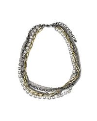 Steve Madden | Metallic Tritone Crystal Multichain Necklace | Lyst
