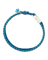 Tateossian - Wovenleather Evil Eye Bracelet Blue for Men - Lyst