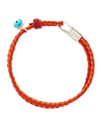 Tateossian | Wovenleather Evil Eye Bracelet Orange | Lyst