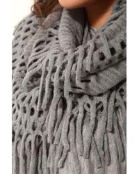 AKIRA Gray Fringe Infinity Scarf in Grey