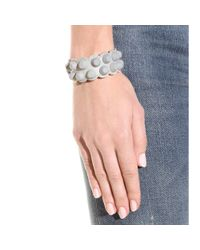 Balenciaga - Gray Classic Matte Stud Leather Bracelet - Lyst