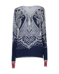 Etro | Blue Ivory and Navy Patterned V-neck Pullover | Lyst