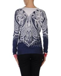 Etro - Blue Ivory and Navy Patterned V-neck Pullover - Lyst