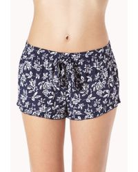 Forever 21 Blue Tropical Print Pj Shorts