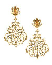 Jose & Maria Barrera Metallic Scroll Chandelier Clip Earrings