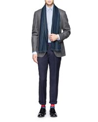 Paul Smith Blue Herringbone Wool Scarf for men