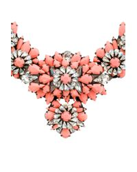 Shourouk - Pink Coloured Stone Floral Necklace - Lyst