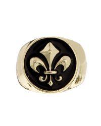 ASOS - Metallic Signet Ring with Fleur De Lis for Men - Lyst