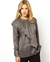 ASOS | Gray Top With Neck Ruffle In Paisley Jacquard | Lyst