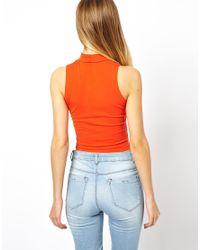 ASOS - Orange Crop Top with Turtle Neck - Lyst