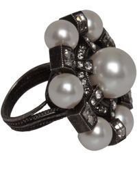 Lanvin - Black Crystal Gloria Ring - Lyst