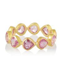 Munnu Metallic 22 karat Gold Sapphire Eternity Ring