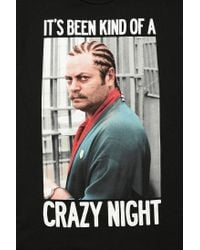 Urban Outfitters - Black Ron Swanson Crazy Night Tee for Men - Lyst