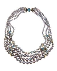 Alexis Bittar Fine | Metallic Midnight Marquise Pearl Necklace | Lyst