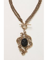 Anthropologie - Black Cameo Pendant Necklace - Lyst
