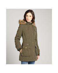 DKNY | Military Green Anorak Wberber Lined Hood Three Quarter Coat | Lyst