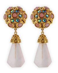 Jose & Maria Barrera | Metallic Pink Quartz Drop Clipon Earrings | Lyst