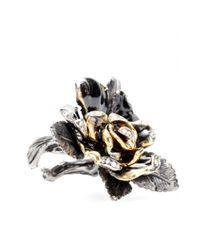 Roberto Cavalli | Black Swarovski Crystal Rose Ring | Lyst