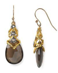 Alexis Bittar | Metallic Lace Capped Smoky Quartz Teardrop Earrings | Lyst