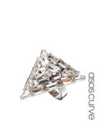 ASOS Metallic Exclusive Jewelled Triangle Ring