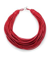 Brunello Cucinelli | Red Patent Leather Cord Multistrand Necklace for Men | Lyst