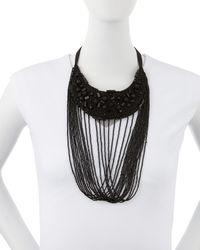 Donna Karan | Black Tiered Halfmoon Necklace | Lyst
