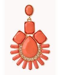 Forever 21 - Orange Art Deco Faux Stone Drop Earrings - Lyst