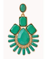 Forever 21 Green Art Deco Faux Stone Drop Earrings
