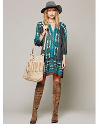 Free People Blue Bow Arrow Henley Dress