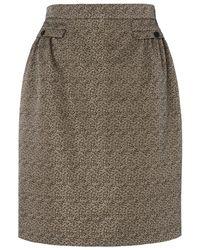 Jaeger Brown Gathered Waist Lurex Skirt