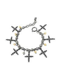 Jean Paul Gaultier - Black Beaded Cross Bracelet - Lyst